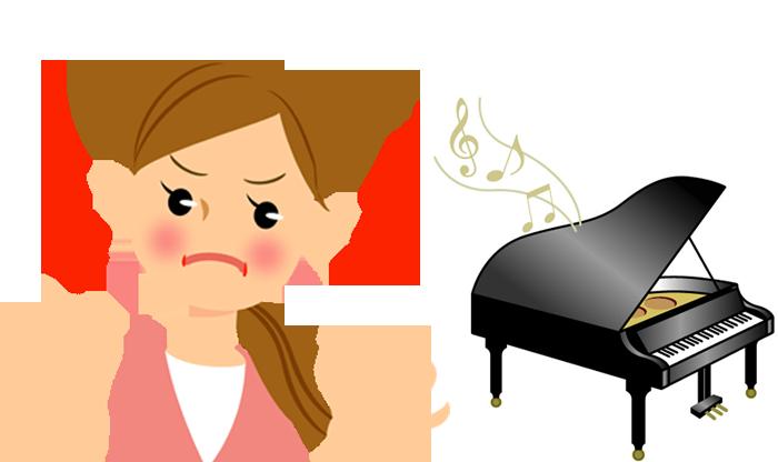 ピアノのうるさい騒音に迷惑している女性