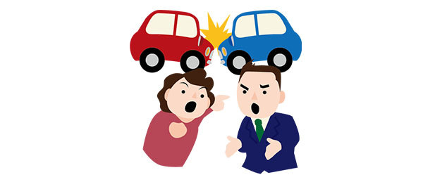 交通事故の過失割合でもめる男女