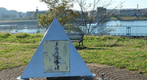 多摩川決壊の碑 画像引用元:http://tamagawa.circlemy.com/history-02.html