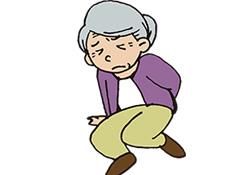 転んで骨折する老人